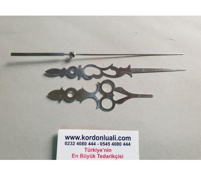 Akrep 11,8 cm Yelkovan 16,4 cm Metal Desenli Gümüş100 Adet